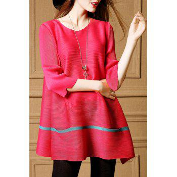 Chic 3/4 Sleeve Scoop Neck Pocket Design Women's Blouse