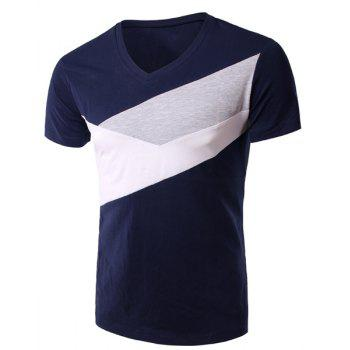 Slimming V-Neck Splicing Short Sleeves T-Shirt For Men