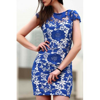 Stylish Round Neck Short Sleeve Blue Lace Women's Dress - BLUE M