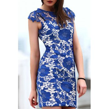 Stylish Round Neck Short Sleeve Blue Lace Women's Dress