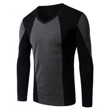 Slimming Color Block Long Sleeves V-Neck T-Shirt For Men