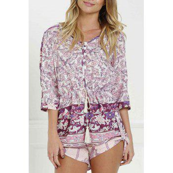 Stylish V Neck 3/4 Sleeve Floral Print Women's Romper
