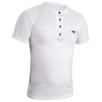 Simple Round Neck Pure Color Single Breasted Short Sleeve Men's T-Shirt - WHITE XL