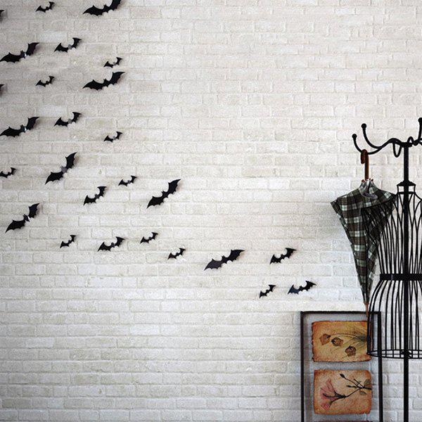 12PCS Fasshionable 3D Bat Design PVC Wall Sticker - BLACK