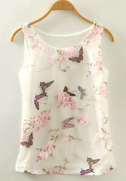 Sweet Women's Scoop Neck Butterfly Print Tank Top - WHITE ONE SIZE(FIT SIZE XS TO M)
