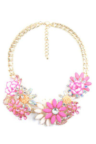 Charming Floral Faux Crystal Necklace For Women - PINK