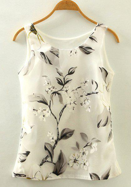 Vintage Women's Scoop Neck Floral Print Tank Top - WHITE ONE SIZE(FIT SIZE XS TO M)