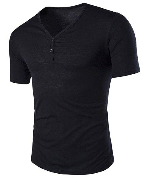 V-Neck Slimming Buttons Embellished Short Sleeve Men's T-Shirt - BLACK L
