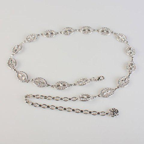 Chic Rhinestone and Cross Shape Embellished Women's Alloy Waist Chain - SILVER