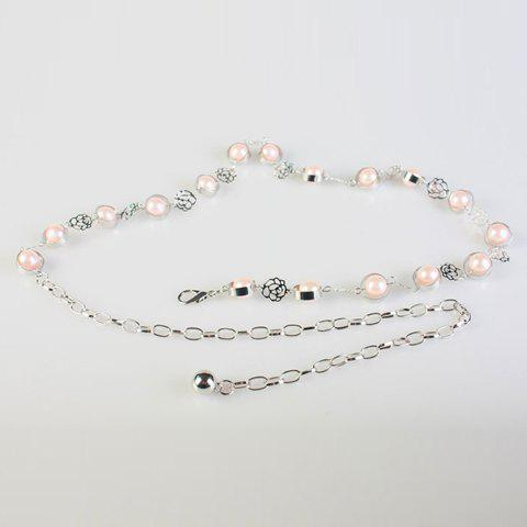Chic Faux Pearl and Rose Shape Embellished Women's Alloy Waist Chain - PINK