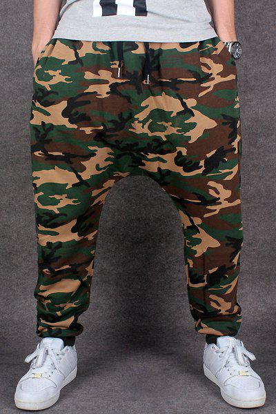 Street Style Beam Feet Camo Print Loose Fit Lace-Up Parachute Pants For Men
