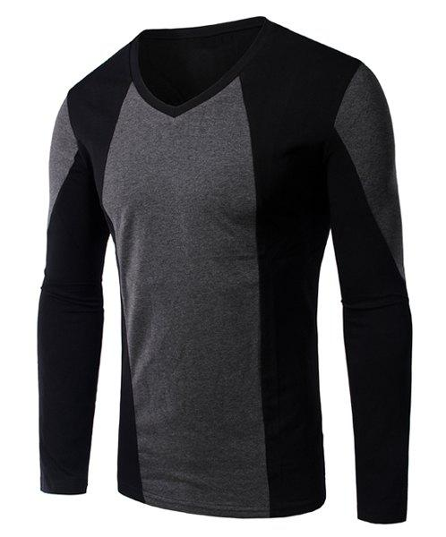 Slimming Color Block Long Sleeves V-Neck T-Shirt For Men - DEEP GRAY M