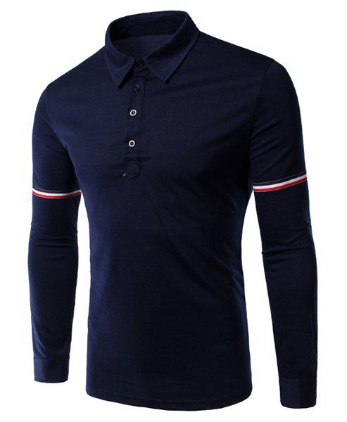 Slimming Long Sleeves Stripe Design Polo T-Shirt For Men - CADETBLUE L
