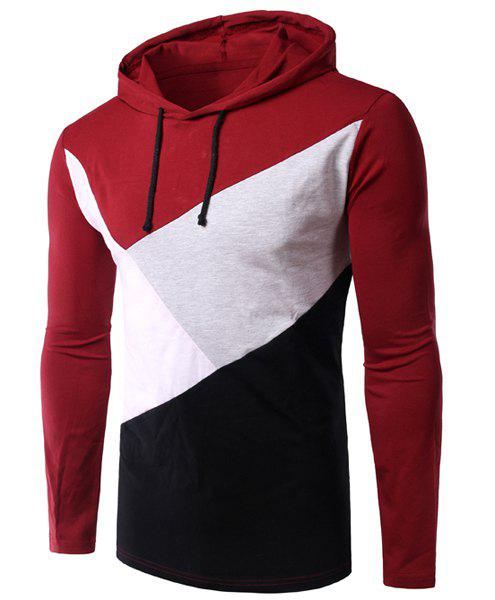Slimming Long Sleeves Color Block Hoodie T-Shirt For Men - WINE RED 2XL