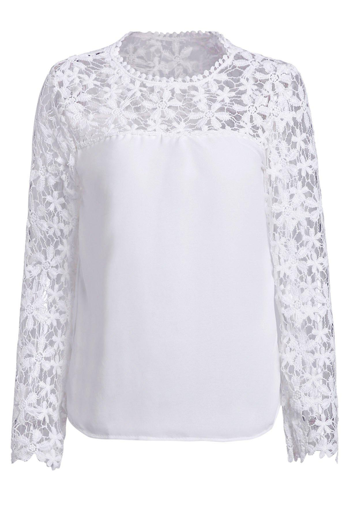 Stylish Scoop Neck Long Sleeve Crochet Flower Spliced Women's Blouse - WHITE 5XL