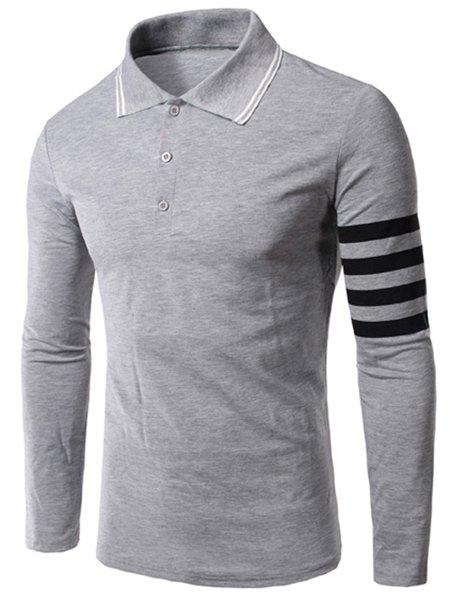 Slimming Long Sleeves Stripe Polo T-Shirt For Men - LIGHT GRAY M