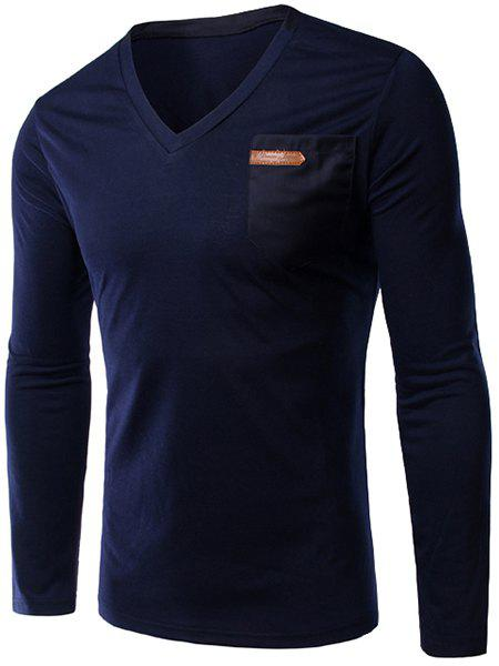 Slimming Single Pocket V-Neck Long Sleeves T-Shirt For Men - DEEP BLUE M