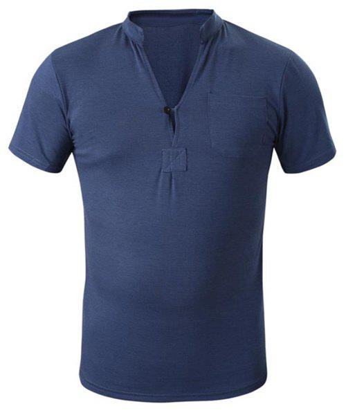 Simple Stand Collar Solid Color Patch Pocket Short Sleeve Men's T-Shirt - CADETBLUE XL