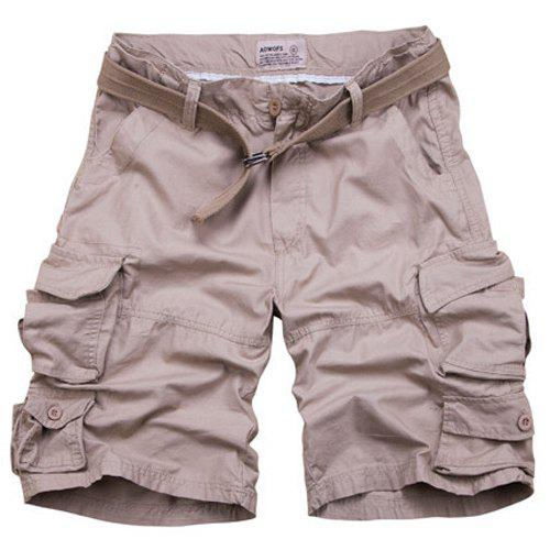 Zipper Fly Pockets Design Straight Leg Men's Shorts - NUDE M