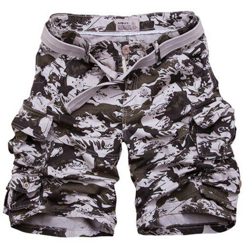 Buy Zipper Fly Camouflage Pockets Design Straight Leg Men's Shorts MARINE CAMOUFLAGE