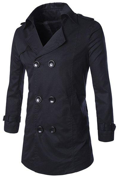 Turn-Down Collar Epaulet Design Double-Breasted Long Sleeve Men's Trench Coat - BLACK M