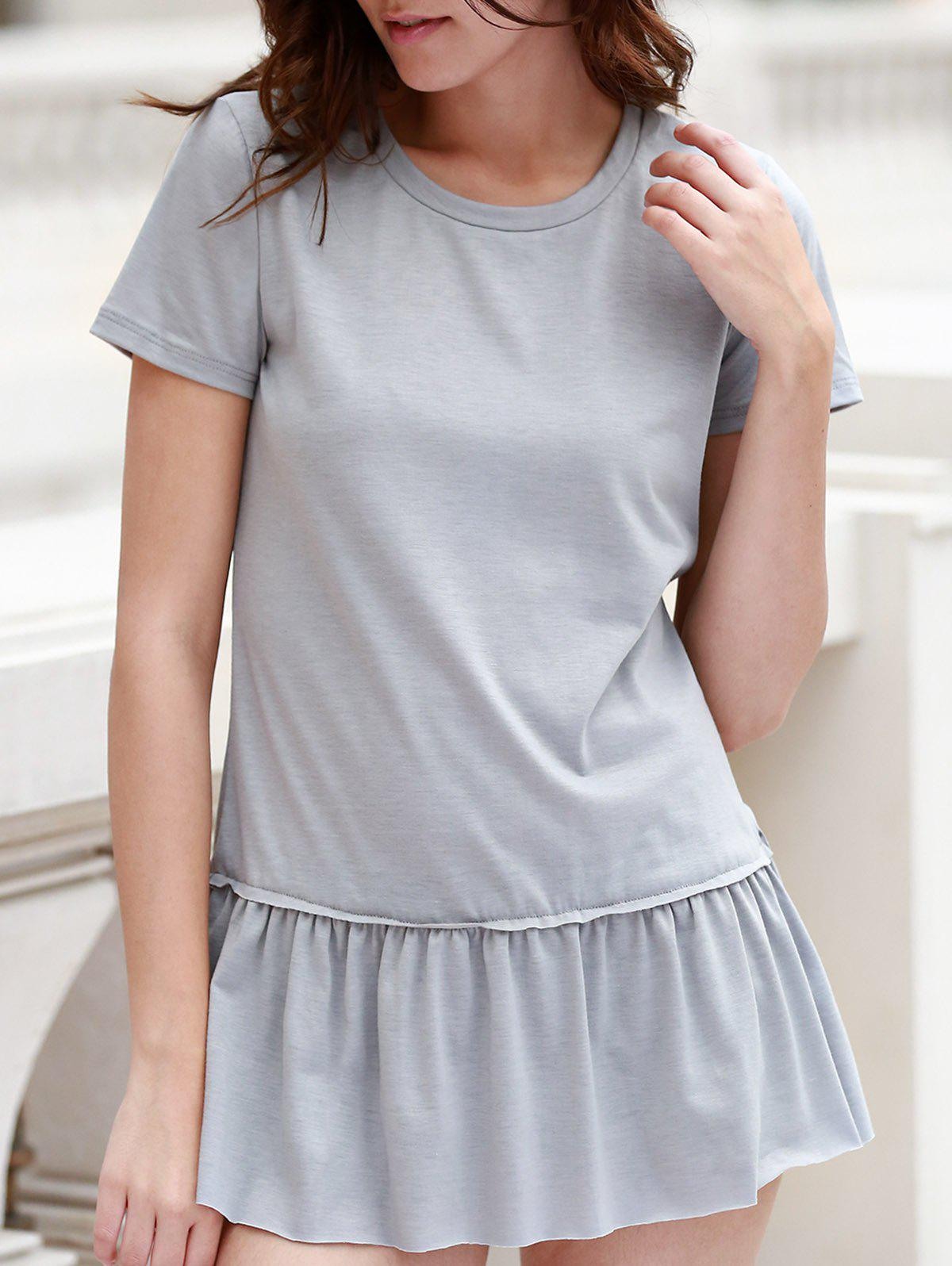 Stylish Round Neck Short Sleeve Solid Color Pleated Women's T-Shirt - GRAY S