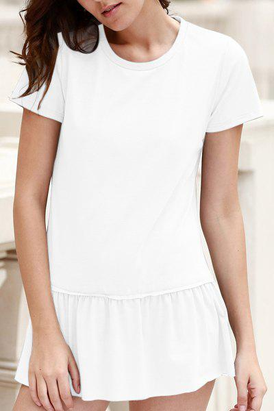 Stylish Round Neck Short Sleeve Solid Color Pleated Women's T-Shirt - WHITE M