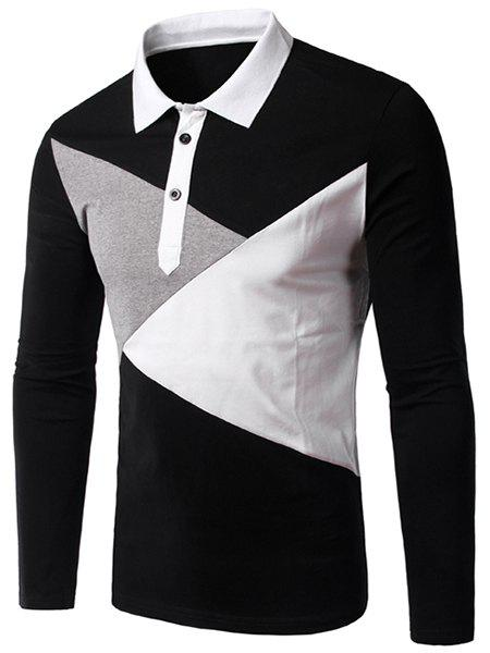 Slimming Button Design Long Sleeves Polo T-Shirt - BLACK L
