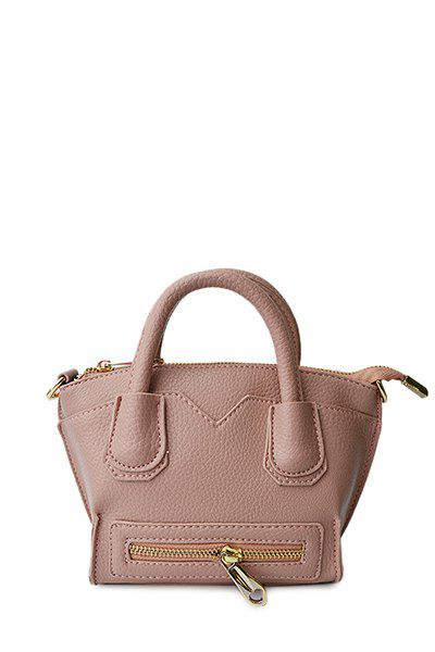 Trendy Stitching and Zip Design Tote Bag For Women - PINK