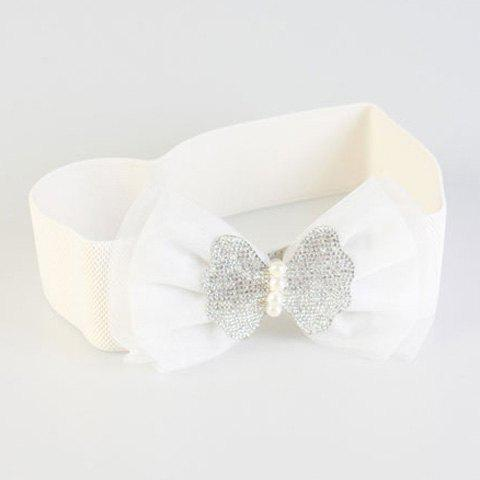 Chic Rhinestone Double-Deck Lace Bow Women's Elastic Waistband - WHITE