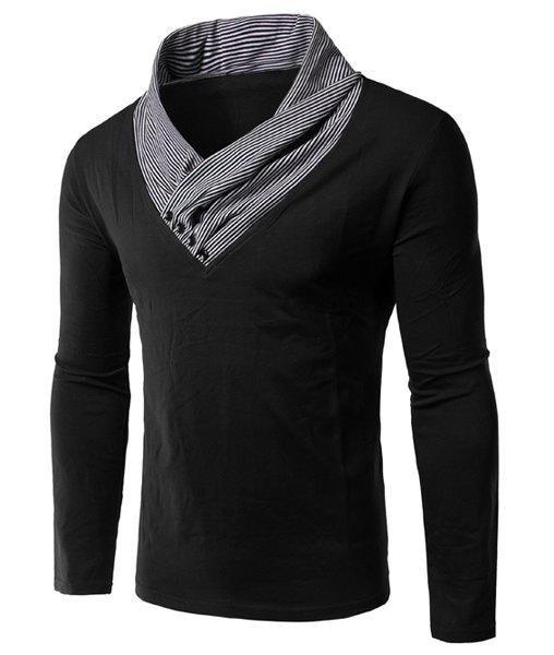 Slimming Special Collar Long Sleeves Splicing T-Shirt For Men - BLACK M