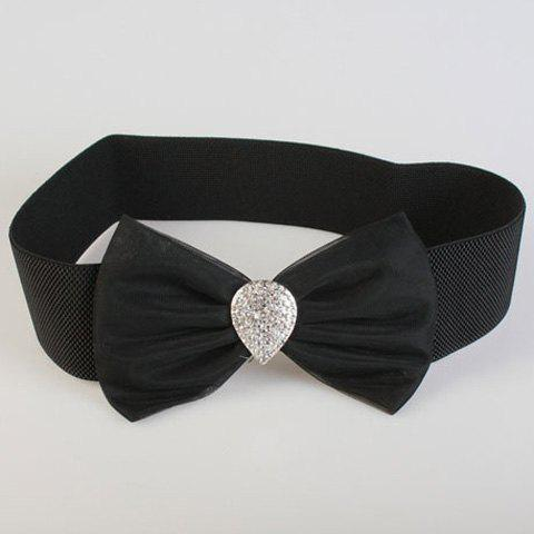 Chic Rhinestone Water Drop Shape and Bow Decorated Women's Elastic Waistband - BLACK