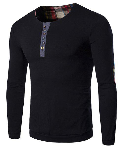 Round Neck Buttons Embellished Checked Elbow Patch Long Sleeve Men's Sweatshirt - BLACK L