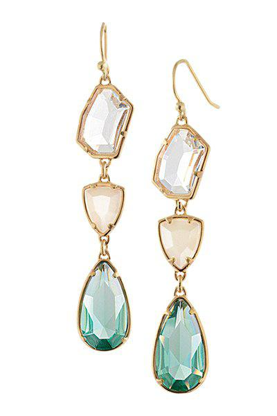 Pair of Faux Crystal Teardrop Geometric Earrings - COLORMIX