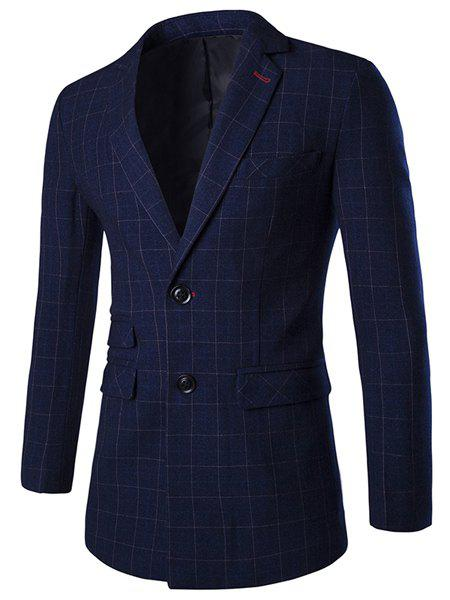 Checked Lapel Long Sleeve Single Breasted Men's Blazer