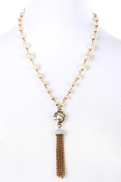 Vintage Alloy Rhinestone Link Chain Tassel Necklace For Women