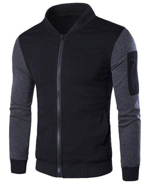 Stand Collar Rib Spliced PU-Leather Long Sleeve Men's Jacket 173486001