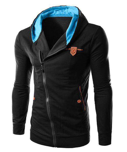 Slim Fit Inclined Zipper Design Color Block Hoodie For Men - BLACK M