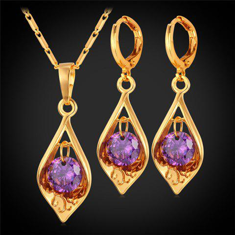 Faux Amethyst Hollowed Necklace and Earrings - GOLDEN