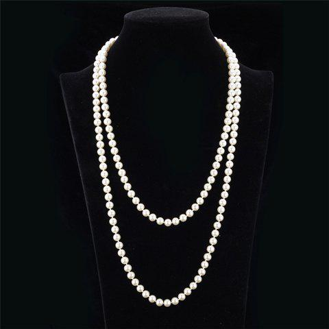 Faux Pearl Multilayered Necklace - WHITE
