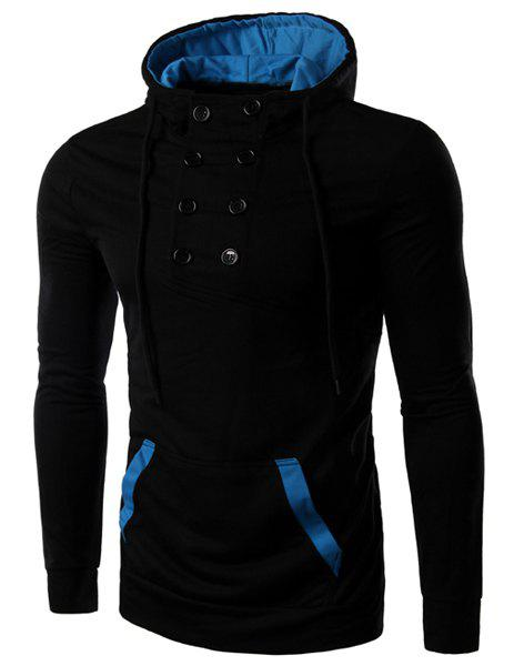 Slim Fit Double Breasted Design Color Block Pullover Hoodie For Men