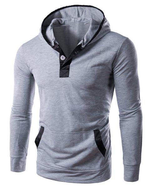Slim Fit Color Block Pullover Hoodie For Men - LIGHT GRAY L