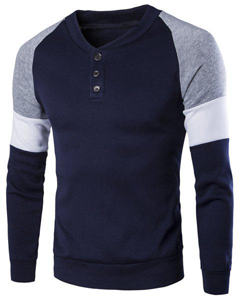 Round Neck Buttons Embellished Color Block Splicing Long Sleeve Men's Sweatshirt