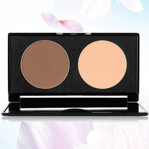 Cosmetic 2 Colours Contour Highlight Shadow Pressed Powder Palette with Mirror - 2