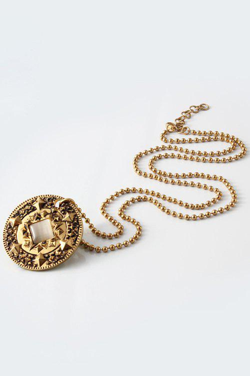 Stylish Alloy Round Piece Pendant Necklace For Women - GOLDEN