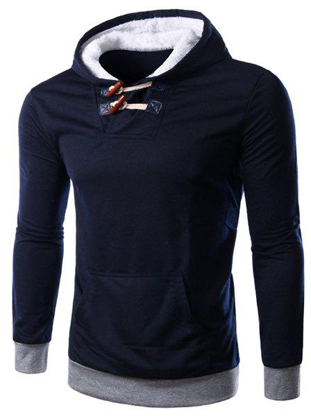 Slim Fit Color Block Thicken Pullover Hoodie For Men - CADETBLUE L