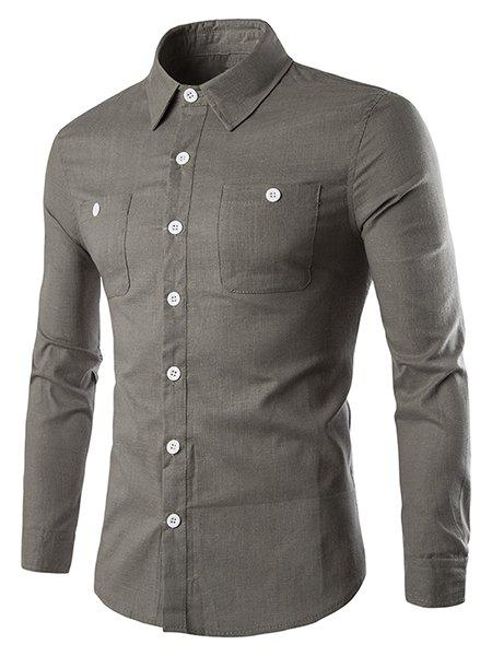 Turn-Down Collar Pockets Long Sleeve Men's Shirt - LIGHT COFFEE L