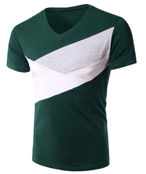 Slimming V-Neck Splicing Short Sleeves T-Shirt For Men - BLACKISH GREEN M