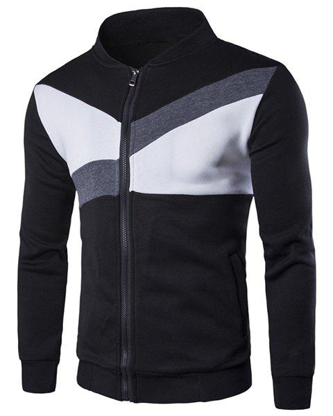 Stand Collar Color Block Geometric Spliced Long Sleeve Men's Jacket 173513701