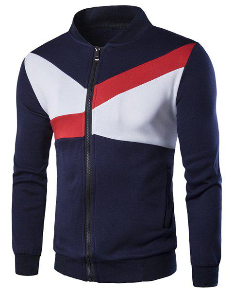 Stand Collar Color Block Geometric Spliced Long Sleeve Men's Jacket - PURPLISH BLUE M